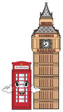 Face of telephone booth with Big Ben tower Royalty Free Stock Image