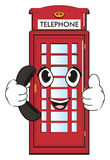 Face of telephone with large handset. Smiling face of red telephone boots hold a black handset and show gesture cool Royalty Free Stock Photography