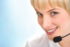Face of telephone operator Royalty Free Stock Image