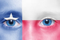 Face with texas state flag Stock Photo