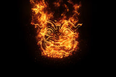 The face of  Thailand Giant , flames Fire effect.  Royalty Free Stock Photography