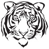 Face tiger. Silhouette, illustration vector Royalty Free Stock Images