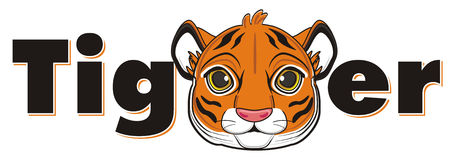 Face of tiger and black signs Stock Photography