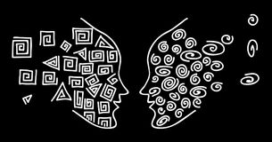 Face-to-face. Drawing a white line to face the silhouette of a human head on a black background. Circles and squares - two opposites. Vector illustration for Stock Photo