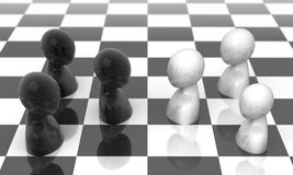 Face to face. Face to face in strategic game. 3d illustration Stock Photo
