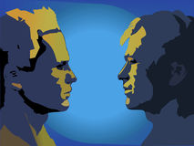 Face to face. An illustration of two men facing each other Royalty Free Stock Photos