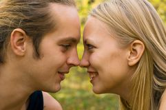Face to face. Young blond couple - face to face Stock Photo