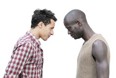 Face to face. An african man and a caucasian one face to face Stock Photography