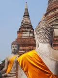 Face  to face. Buddhist statues at Wat Yai Chaya Mongkol Ayutthaya Stock Photo