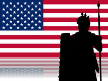 Face to Face: USA & History. An ancient roman soldier in front of the USA flag. It's a metaphor showing the comparison between the Roman Empire and the stock illustration