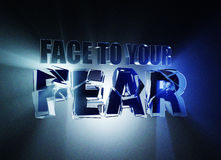 Face to Your Fear. 3d illustration Banner Design Concept, on dark blue background. Royalty Free Stock Image
