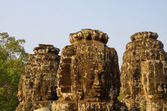 Face tower of Bayon Temple Stock Photo