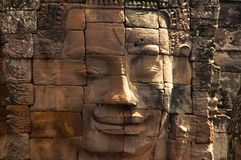 Face towers of the Bayon temple, In the center of Angkor Thom , Siem Reap, Cambodia. UNESCO World Heritage Site royalty free stock photo
