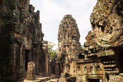 Face towers of the Bayon temple, In the center of Angkor Thom , Siem Reap, Cambodia. UNESCO World Heritage Site stock images
