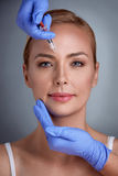 Face treatment of botox Royalty Free Stock Image