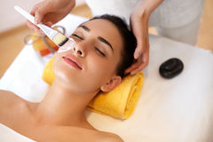Face Treatment. Woman in Beauty Salon Gets Marine Mask Royalty Free Stock Photo