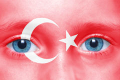 Face with turkish flag Royalty Free Stock Photos