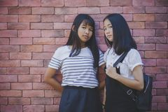 Face of two asian teenager standing and looking to camera with e. Ye contact royalty free stock photo
