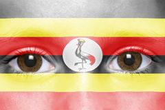Face with ugandan flag Stock Photography