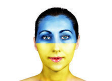 Face  with the Ukraine flag Stock Photography