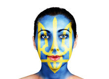 Face  with the Ukraine flag Stock Photo