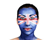 Face  with the United Kingdom flag Royalty Free Stock Photo