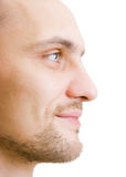 Face unshaven young man in profile Stock Photos