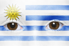 Face with uruguayan flag Stock Image