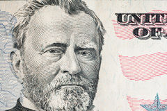 face on US fifty or 50 dollars bill macro, united states money closeup royalty free stock photos