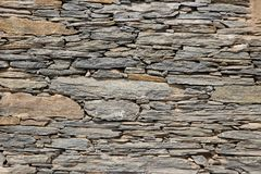 Neatly Stalked Up Stone Slabs. Face of a wall with neatly packed up stone slabs of various sizes and shapes Stock Photos