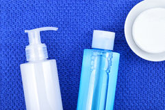 Face wash cleansing gel, toner and cotton cleansing pads. Stock Image