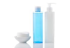 Face wash cleansing gel, toner and cotton cleansing pads isolate Royalty Free Stock Photo