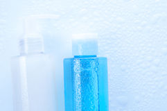 Face wash cleansing gel, toner with water drops. Stock Image