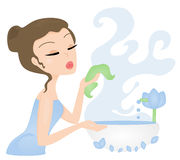 Face Wash. Illustration of a woman pampering her skin by washing her face stock illustration