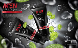 Face wash for men ad. Face wash for men contained in tubes with flying water drops and mint leaves, gray background 3d illustration Stock Image