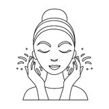 Face washing icon in outline style isolated on white background. Skin care symbol stock vector illustration. Face washing icon in outline style isolated on stock illustration