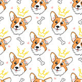 Face welsh corgi with crown. Seamless pattern with cute dog royalty free illustration