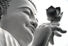 Face of a white Buddha with a lotus in his hand, Dalat, Vietnam Royalty Free Stock Images