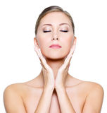 Face With Closed Eyes Of A Beautiful Woman Royalty Free Stock Photo