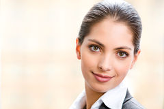 Face of woman. Face of beautiful business woman isolated on a white background Stock Image