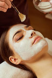 On face of  woman beautician applies a mask in the spa salon. On face of  women beautician applies a mask in the spa salon Royalty Free Stock Image