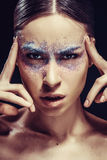 Face of woman with beautiful makeup close-up Royalty Free Stock Images