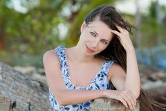 Face woman with brown hair and blue eyes royalty free stock photos