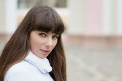 Face woman with brown hair and blue eyes royalty free stock images