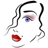 Face of Woman Clip Art. An abstract art portrait of a woman's face in black outlines and colored eyes and lips as cosmetics showing half her face with just a Stock Photos