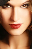 Face woman close-up. Beautiful young woman face looking close up Stock Photo
