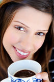 Face of woman with coffee Stock Images