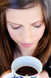 Face of woman with coffee Stock Photography