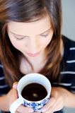 Face of woman with coffee Royalty Free Stock Image