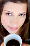 Face of woman with coffee Stock Photo